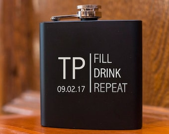 Laser Etched Flask -Initials Personalized Black Hip Flask - In Gift Box - Fill Drink Repeat Wedding Party Gift - Best Man Gift - Black Flask