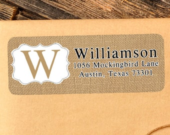 Custom address label, Return address label, Self-adhesive address label, Address stickers, Burlap, Return Labels, Monogram Return Labels