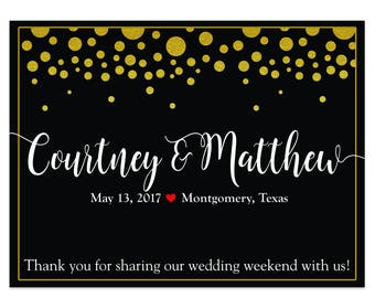 """4"""" x 3""""  Personalized Welcome Box Labels -  30 Wedding Welcome Bag Labels -Welcome Stickers - Box Stickers - Gold Dots Black Labels"""