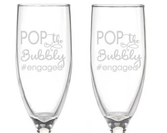 Personalized #Engaged Flutes,  2 Toasting Flutes, Engraved Pop the Bubbly Flutes,  #engaged Toasting Flutes,   Champagne Flutes