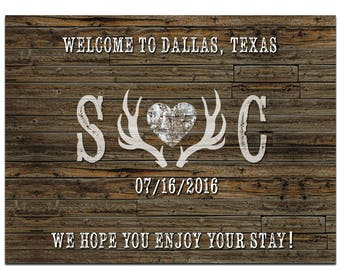 """4"""" x 3""""  Personalized Welcome Box Labels -  30 Wedding Welcome Bag Labels - Favor Labels - Welcome Box Stickers - Rustic, Deer Antlers"""