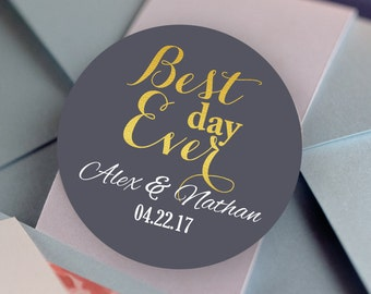 Best Day Ever Stickers, Custom Labels - Wedding labels - Bridal Shower stickers - Wedding Decor - Thank you Stickers - Custom Color Stickers