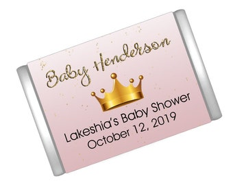 Pink Crown Baby Shower Mini Candy Bar Wrappers - Hershey® Miniature Candy Bar Sticker Labels - Princess Baby Shower Decor - 21 Ct.