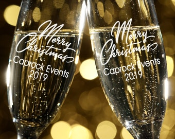 Merry Christmas Engraved Champagne Glasses - Personalized Drinking Glass - Personalized Party Glasses - Christmas Drinkware