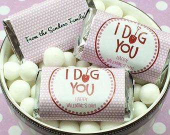 """Personalized I Dig You Valentine Hershey's Mini Chocolates - Need a different quantity? Click on the """"choose total"""" tab to see all pricing"""