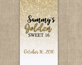 Personalized Golden Glitter Hershey's Miniatures Chocolate Wrappers - Gold Miniature Wrappers - Miniature Candy Stickers - Nugget Stickers