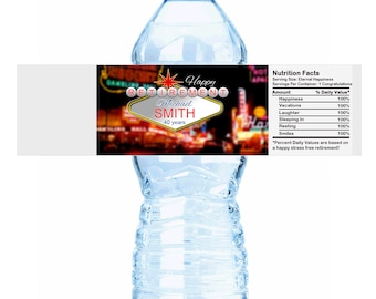 20 Las Vegas Themed Picture Retirement Water Bottle Labels - Las Vegas Retirement Labels - Retirement Stickers - Retirement Bottle Labels