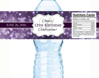 30 Birthday Water Bottle Labels - Birthday Wraps, Birthday Decor, Birthday Favors,  Birthday Favor Ideas, Purple Stickers