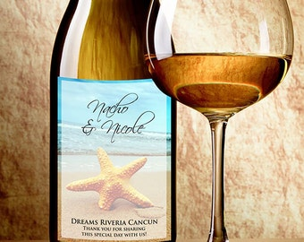 Starfish Wine Labels - Starfish Beach Theme Wedding Favor - Wine Bottle Labels