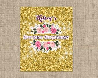 Personalized Lip Balm Labels - Gold Glitter Sweet 16 Party labels -  1 Sheet of 12 Lip Balm Labels - Sweet Sixteen Lip Balm Labels