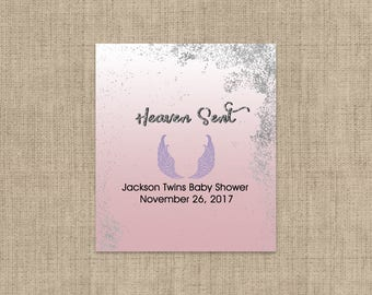Lip Balm Labels - Personalized Lip Balm Labels - Baby Shower Lip Balm labels - Angels Wings -  1 Sheet of 12 Pink and Gold Lip Balm Labels