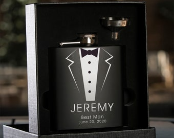 Personalized Black Hip Flask with Funnel | Groomsman Flask | Best Man Flask | Wedding Party Flask | Bridal Party Flask | Tuxedo Flask