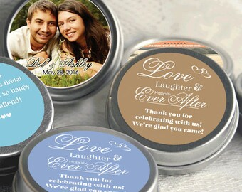 Love Laughter and Happily Ever After - Wedding Decor - Personalized Photo Wedding Favors - Mint Tins  - Bridal Shower Favors - Photo Favors