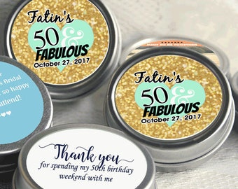 Birthday Mint Tins - Gold Glitter - Gold and Mint - 50th Birthday Decor - Milestone Birthday - 12 Personalized 50th Birthday Mint Tins