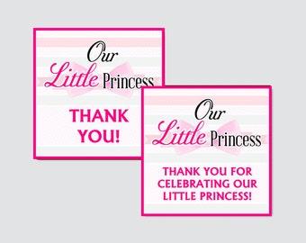 Little Princess Baby Shower Printable Favor Tag - Little Princess Baby Shower Favor Tags - Thank You Tag, Little Princess Favor Tags