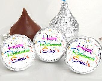 108 Happy Retirement Kiss® Stickers - Retirement Kiss Stickers - Retirement Candy Labels - Retirement Favors - Retirement Candy Stickers