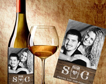 Wedding Wine Label - Wine Label with Photo - Photo Wine Bottle Labels - Rustic Wine Labels - Rustic Mason Jar Country Wine Labels with Photo