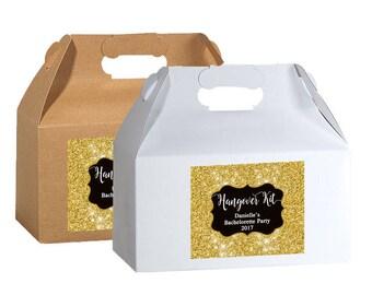 "4"" x 3""  Personalized Box Labels -  Bag Labels - Wedding Favor Labels - Box Stickers - Box Stickers - Glitter - Hangover Kit Box Labels"