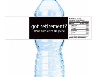 "Personalized Got Retirement? Water Bottle Labels - Select the quantity you need below in the ""Pricing & Quantity"" option tab"