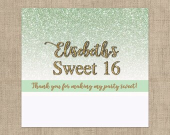12 Golden Sweet 16 Candy Bar Wrappers for Hershey's Chocolates - Sweet 16  - Personalized Candy Bar Labels - Gold Glitter with Mint