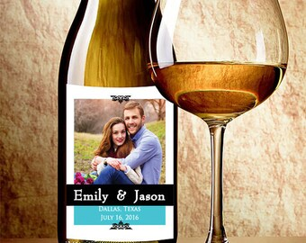 Photo - Custom Wine Bottle Label - Custom Photo Wine Labels - Wedding Decor - Wedding Wine Stickers - Personalized Wedding Favors