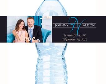 Wedding Water Bottle Labels - Monogram Bottled Water Labels - Names and Date - Photo Water Bottle Labels  - Water Bottle Wraps - Photo