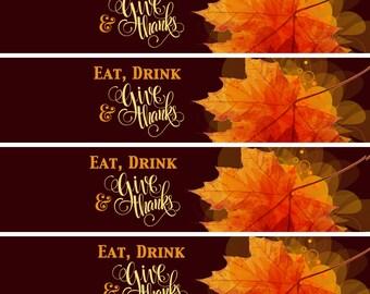 20 Thanksgiving Water Bottle Labels - Thanksgiving Decor - Thanksgiving Favors - thanksgiving Bottle Wraps - Autumn Decor - Waterproof