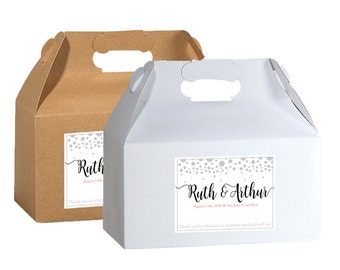 Personalized Welcome Box Labels -  30 Wedding Welcome Bag Labels - Wedding Favor Labels - Welcome Stickers - Box Stickers - Silver