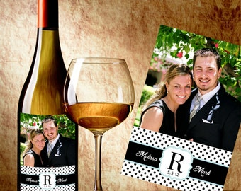 Personalized Wedding Wine Labels With Photo - Custom Color Wine Labels - Photo Wine Labels