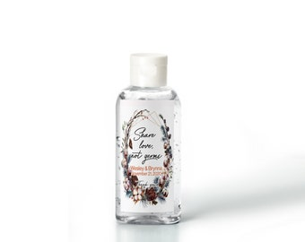 Rustic Botanical Cotton Wreath with Gold frame Hand Sanitizer Labels | Rectangular Labels | Baby Shower| Bridal Shower | Wedding Shower