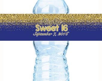 "Royal Blue & Gold Glitter Water Bottle Labels. Customizable drinks covers, 8 x 2"", Sweet 16, Bridal Shower, Birthday"