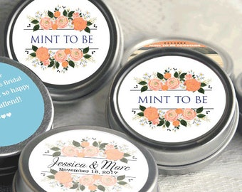 Mint to Be Wedding Favors - Personalized Wedding Mint Tins - Personalized Wedding Favors - Wedding Decor - Shades of Orange - Thank You