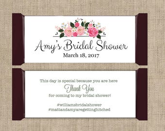 12 Large Personalized Hershey Candy Bar Wrappers - Bridal Shower Candy Bar Wrapper  -  Bridal Shower Decor - Floral Pink