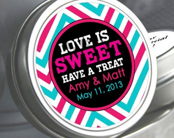 "12 Personalized Love is Sweet Chevron Mint Tins - Select the quantity you need below in the ""Pricing & Quantity"" option tab"
