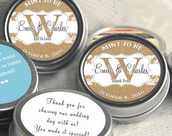 Rustic Wedding Favors - 12 Personalized Wedding Tin Mints - Burlap and Lace - Wedding Mints - Monongram Wedding Favors - Country Chic