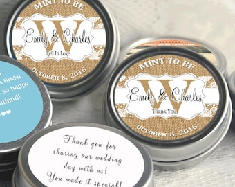 Rustic Wedding Favors - 72 Personalized Wedding Tin Mints - Burlap and Lace - Wedding Mints - Monongram Wedding Favors - Country Chic
