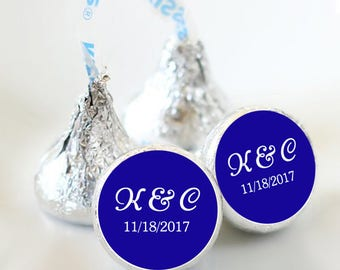 Photo Hershey Kiss® Stickers - Hershey Kiss Stickers  - Wedding Hershey Kiss Labels  - Initials and Date - Royal Blue and White