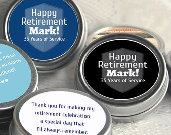 Happy Retirement Mint Tins - Retirement Mints - Retirement Candy Tins - Retirement Favors - Retirement Decor - Retiremints - Candy Tins
