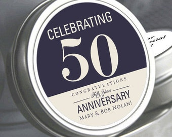 "12 - 50 and Celebrating Custom Color Anniversary Mint Tin Favors - Select the quantity you need below in the ""Pricing & Quantity"" option tab"