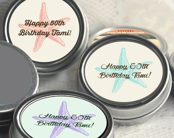 Birthday Mint Tins - Starfish Birthday - Birthday Decor - Milestone Birthday - 12 Personalized Birthday Favors