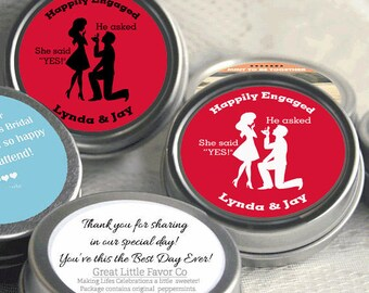 24 Engagement Party Decor -Wedding Favor Mint Tins - Mint Favors - Red - Engagement Announcements - Engagement Favors