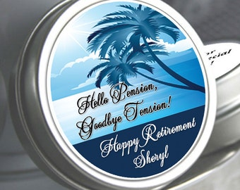 12 Retirement Mint Tins - RetireMints - Palm Tree - Retirement Favors - Retirement Decor - Retirement Mints - Retired - Beach Themed Mints