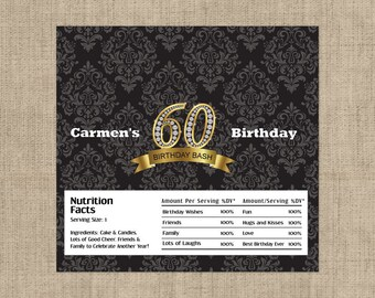 60th Diamond Birthday Candy Bar Wrappers,  60th Birthday Decor, Party Favors, Large Candy Bar Wrappers, Damask Party Favors - (Set of 12)