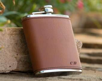 Personalized Brown Leather Initials Flask - Groomsman Flask - Best Man Gift - Wedding Party Gift - Personalized Flask - Initials Flask