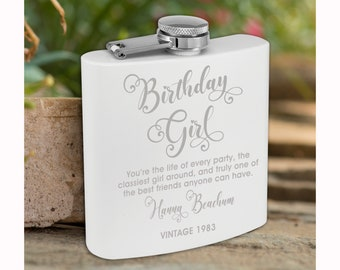 Personalized Matte White Flask | Custom Flask | Engraved White Flask | Birthday Flask | Wedding Party Gift | Bridesmaid Gift | White Flask