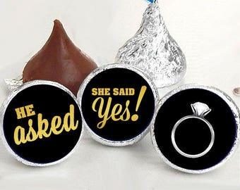 108 Hershey Kiss® Stickers - He Asked She Said Yes Black Kiss Seals - Candy Labels - Wedding Favors - Hershey® Kiss Seals