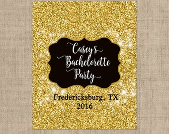 Personalized Lip Balm Labels - Gold Glitter Bachelorette Party labels -  1 Sheet of 12 Lip Balm Labels - Custom Lip Balm Labels
