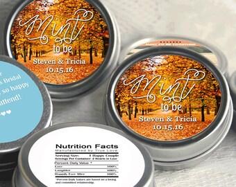 Personalized fall mint tins - 12 Wedding Fall Mint Tins  - Fall Mint Wedding Favors - Fall Weddings - Rustic Weddings - Wedding Decor