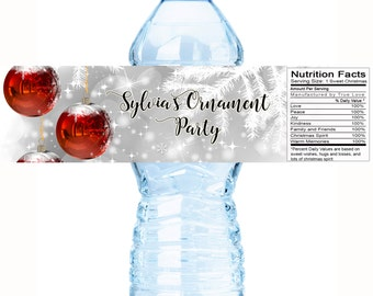 30 Christmas Party Water Bottle Labels, Personalized Christmas Bottle Labels, Holiday Labels, Christmas Decor - Custom Labels