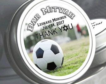 Soccer Mint Tin Party Favors - Bar Mitzvah Party Favors - Birthday Soccer Favors